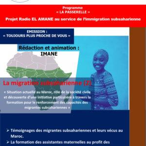 Émission : Toujours plus proche de vous – Épisode 2 : Témoignage et formation au profit des immigrantes subsahariennes